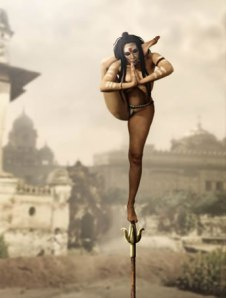 Fakir balancing on pole