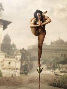 Fakir balancing on pole
