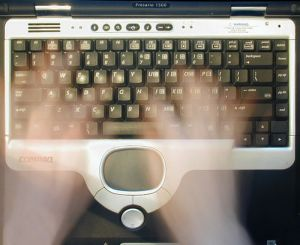 Ghostly hands on keyboard